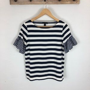 Navy and White Stripe & gingham flutter sleeve top